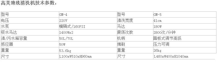 高美GM-4/5地毯清洗机产品参数